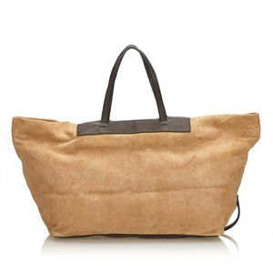Fendi Large Beige Suede Logo All Over Tote Leather